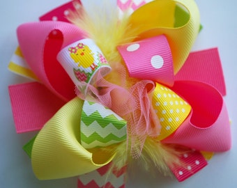 boutique MINI mod EASTER CHICK hair bow clip