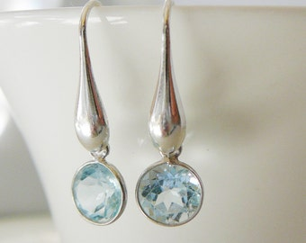 Gemstone Dangle Earrings, Aqua Blue Topaz Gemstone Sterling Silver, statement, wedding bride bridal party
