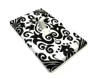 Black and White Damask Light Switch Cover Switchplate Switch Plate Damask Home Decor Nursery