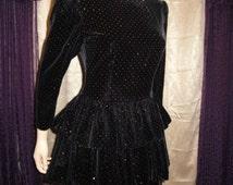 Vintage Anna Sui Black Dress 1980's Vintage Dress Hanae Mori