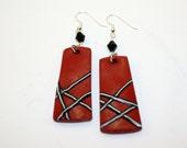 Red Earrings w/black stripes
