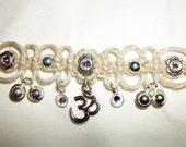 Lacey Aum Hemp Choker with Crystals - Hemp Necklace - Namaste Hemp Jewelry
