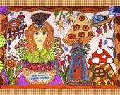"""Fairy Print Whimsical Folk Art """"Inspire Kindness"""", Fairytale, Enchanted, 9.5 x 7.5, Vibrant, Flowers, Retro, Bird, Kitty Cat, ladybug"""