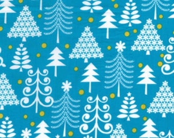 Sale Michael Miller Holiday Trees in Turquoise 1 yard