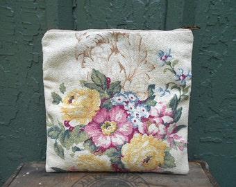 SALE Floral clutch foldover, iPad case, lg utility bag - 1930s cotton - eco vintage fabric