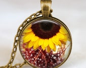 Sunflower jewelry , Sunflower yellow pendant , sunflower charm ,spring jewelry,  botanical  flower gift idea , sunshine necklace