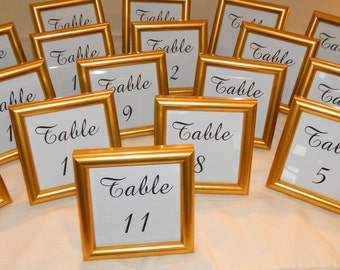 "SPECIAL -  Small Gold Frame with Wedding Table Numbers 4 x 4"" - FREE Ship"