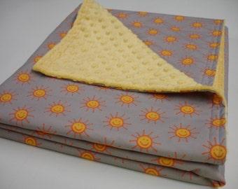 Happy Suns Orange Yellow Gray Minky Blanket MADE TO ORDER