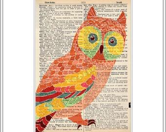 set of 4 - vintage dictionary prints - owl prints - owl art prints - vintage book page prints