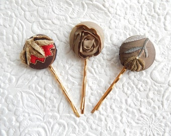 3 olive hair-pins, embroidered hairpins, fabric hairpins, 1 1/8 inch hairpins, hair accessory, womens accessory