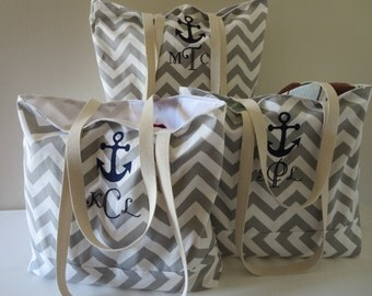 4 Bridesmaid Tote Bags - Large Chevron Beach Totes Monogrammed with Anchor and Personalized