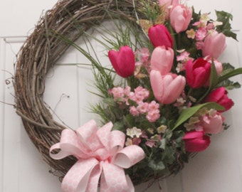 Tulips in Pinks with a Pink Bow Grapevine Wreath