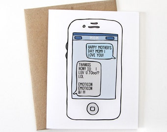 Funny Mothers Day Card - Moms Who Text
