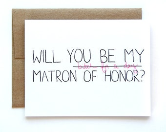 Will You Be My Matron Of Honor Card - Matron Of Honor Card