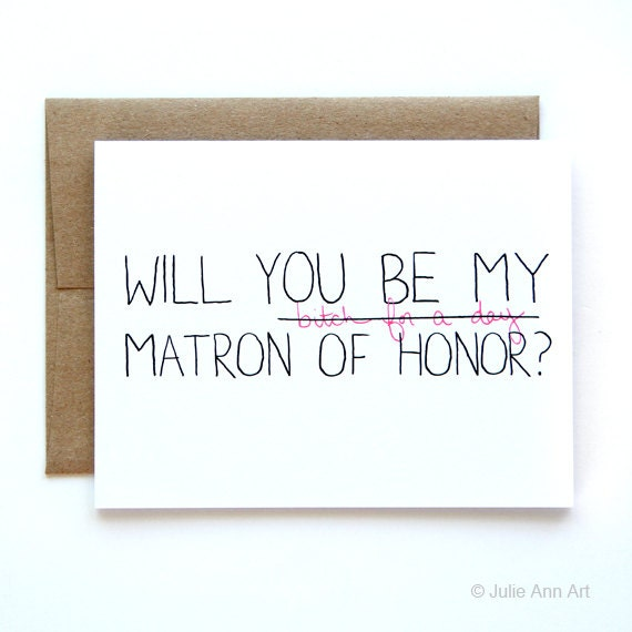 Will You Be My Matron Of Honor Card Matron Of By JulieAnnArt