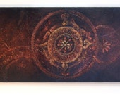 Universe - Large Acrylic Original Texture Painting on Canvas by ChingTeoh 32.2 x 11.5 inch / Copper / Gold / Black