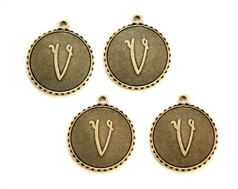 Brass Ox Letter V Initial Charm Drop with Loop (4) chr194V