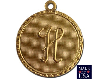 Raw Brass Letter H Initial Charm Drop with Loop (1) chr190H