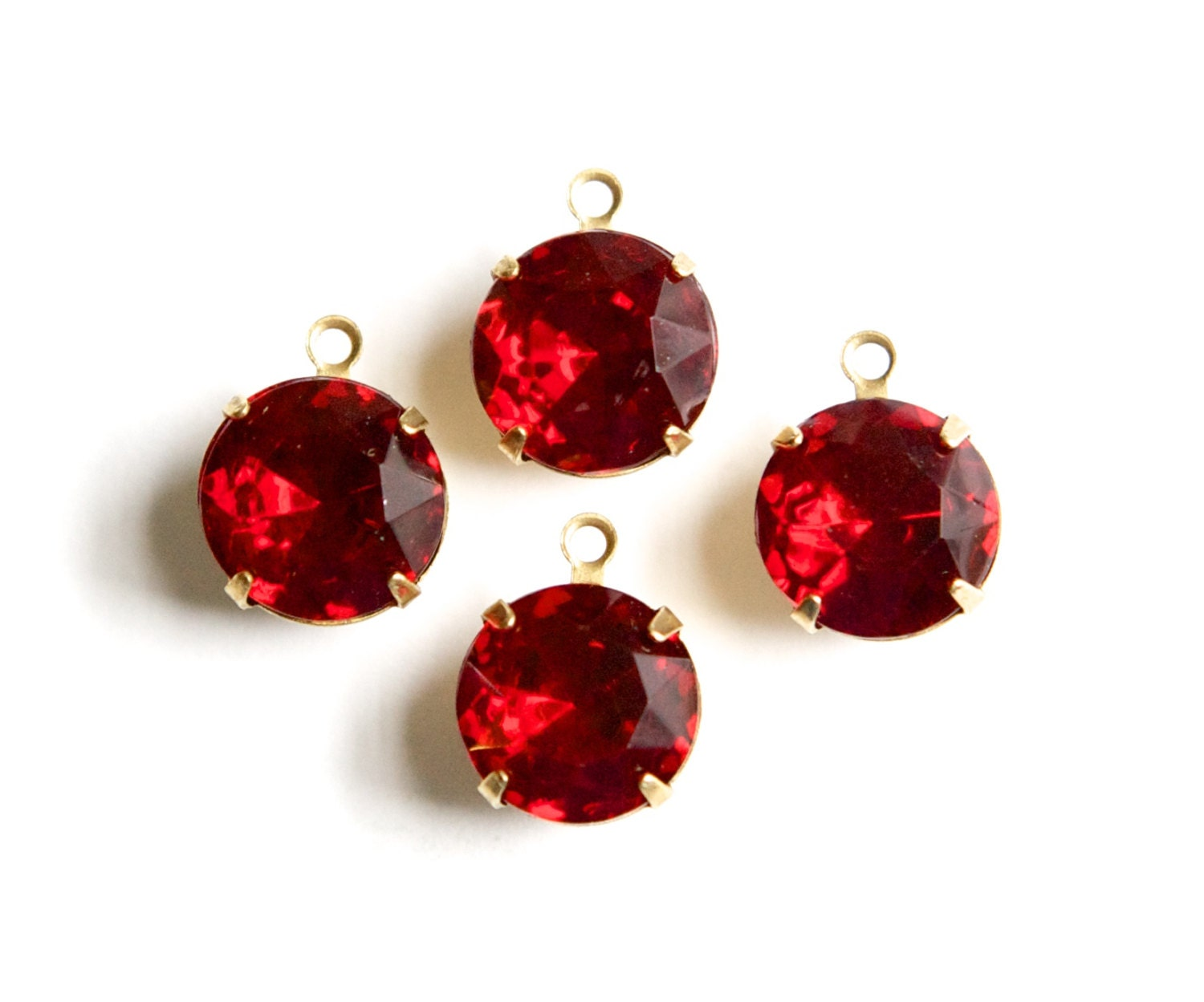 Red Glass Stone : Ruby red glass stones loop brass settings mm rnd hh