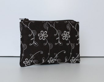 Little Zipper Pouch - White Flower Lane EMB in Chocolate