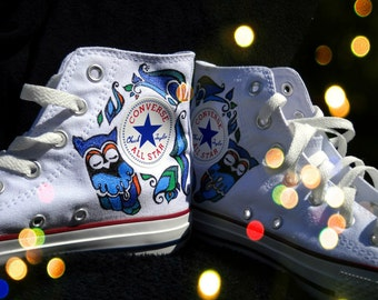Hand Painted Converse Shoes- Prom, Homecoming, Sadies - Owl design