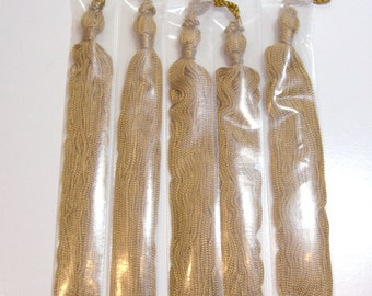 Gold Tassel, Gold Chainette Tassel 6 inches long x 5 pieces, Fabric Tassel