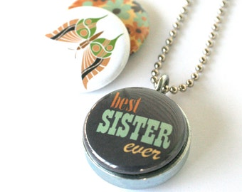 Sister Locket Necklace - Butterfly, Floral, Best Sister Gift, Magnetic, Interchangeable, Recycled Steel by Polarity