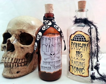 Uncle FESTER's cyanide and COUSIN Itt's hair tonic potion poison bottle props ADDAMS family