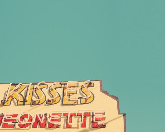 Maine coast candy kiss vintage neon sign anniversary retro modern teal I Love You red romantic gift, whimsical, seaside