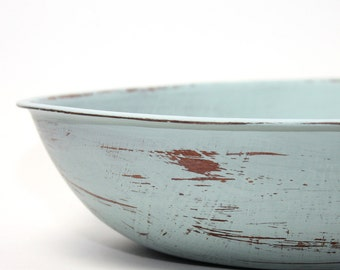 Large Wood Bowl Light Blue Green  Painted Shabby Chic Distressed