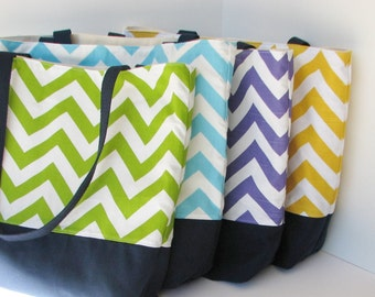 Set of 4 Chevron Totes . Standard size . Design your Own Chevron beach bag . great bridesmaid gifts or sorority bags MONOGRAMMING Available