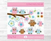 Cute Pink Owl Clipart / W...