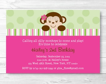 Mod Monkey Girl Birthday Invitation Personalized PRINTABLE