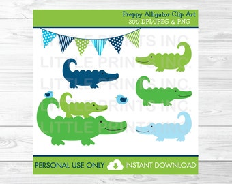 Preppy Alligator Clipart PERSONAL USE Instant Download A310