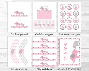 Pink Elephant Baby Shower Party Package INSTANT DOWNLOAD