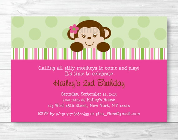 Cute girl birthday invitation girl monkey birthday invite mod il570xn filmwisefo