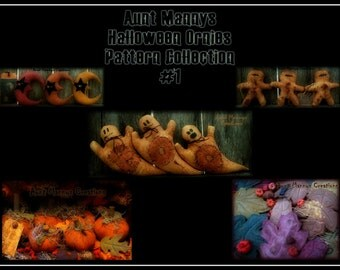 Primitive Halloween Ornies Pattern Collection #6 Lot of 5 Patterns! Buy More Pay Less!