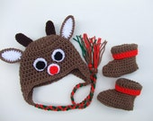 Crocheted Christmas Reindeer Baby Hat and Booties - Ready To Ship - You Pick Size