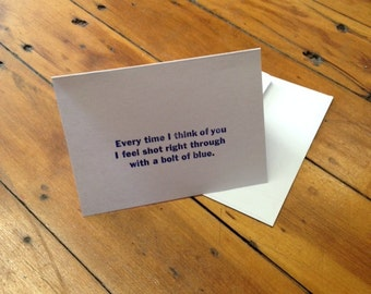 Bizarre Love Triangle letterpress-printed blank notecard