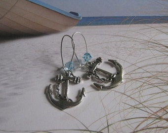 Anchor Earrings, Nautical Earrings, with Swarovski Crystals