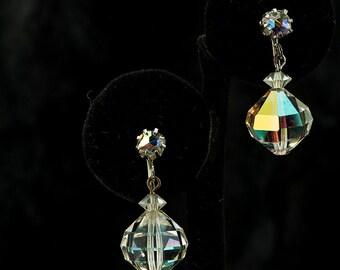 Earrings Clear AB Faceted Crystal Drop Laguna Clip Style Earrings
