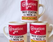 Vintage Mugs - Carnation Advertising - Red and White - Hot Cocoa Mix