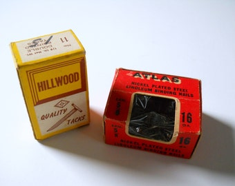 Vintage Tacks Nails Atlas Hillwood 2 Boxes • Vintage Hardware • Vintage Boxes