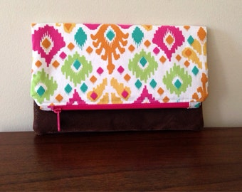 Fold Over Clutch- Ikat- Zipper Pouch- Vegan Leather Bottom- Womens Accessories- Handmade Gifts- Zipper Purse- Clutch- Evening Bag