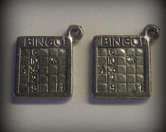 4 Silver Pewter Bingo Card Charms (qb81)