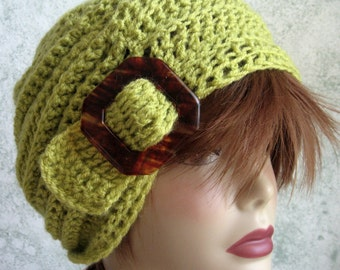 Instant Download Crochet Slouch Hat Pattern With Slide Trim  Mulit-Sized Baby Thru Adult