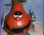 Hand Painted Halloween Jack O Lantern Gourd hp fall pumpkin match stick black flame candle prim chick ofg PUNKY