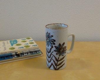 Vintage Tall Floral Stoneware Mug