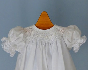 Hand Smocked  Christening Dress, Bonnet, Slip and Panties  3 month  Ready to Ship