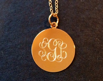 14K Gold monogram initials initial id mommy teen circle script customized personalized necklaceckle